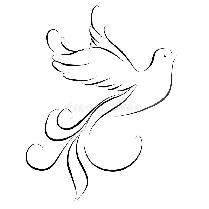 Stiliserad vit fågel med stora fjädrar på en vit bakgrund vektor illustrationer