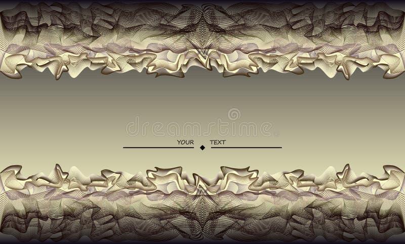 Stiliserad wavelike garnering i försilvrar skuggor Tryckbar bakgrund för affisch eller baner Sömlös horisontalmodell av linjer royaltyfri illustrationer