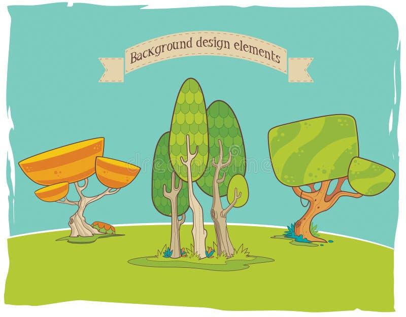 Stiliserade bakgrundsdesignbeståndsdelar: träd fotografering för bildbyråer