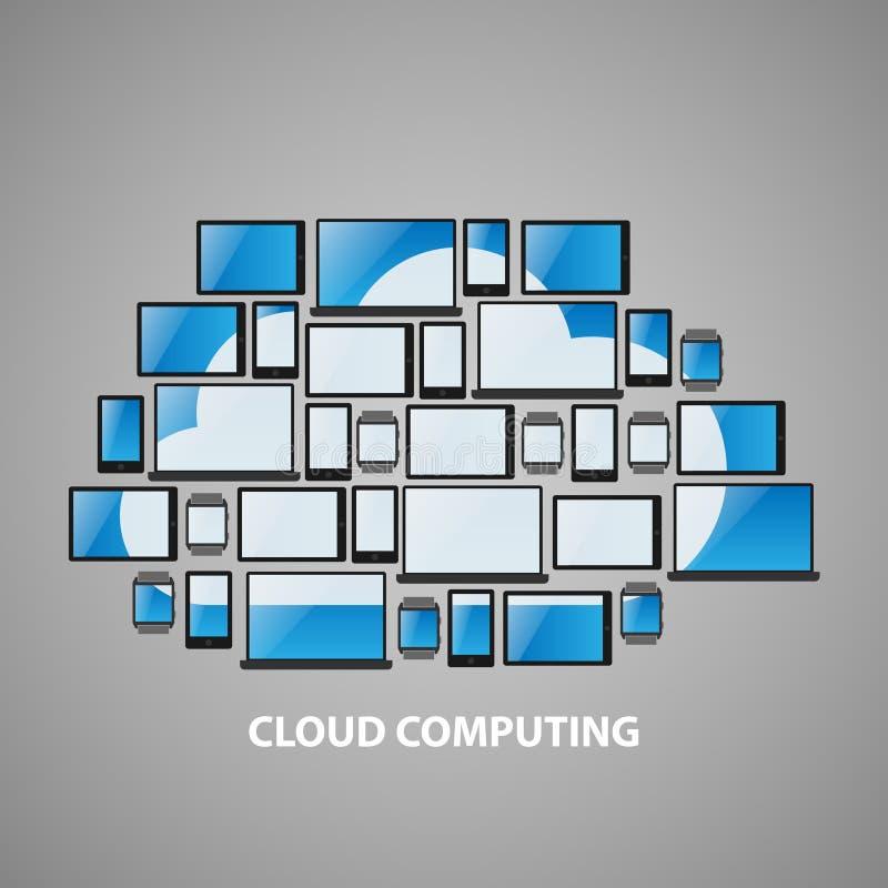 Stiliserade beräknande apparater för moln planlägger royaltyfria bilder