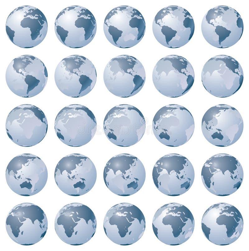 Stiliserade bilder av olika rotationsfaser av jordklotet vektor illustrationer