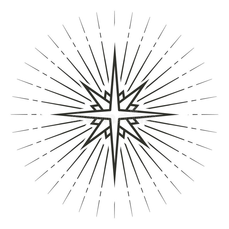 Stiliserade den svartvita linjära teckningen för spetsig stjärna som åtta isolerades på vit bakgrund royaltyfri illustrationer