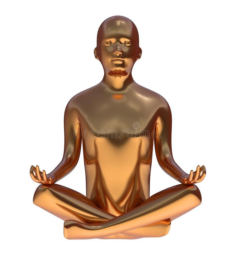 Stiliserade diagramet fred för yoga poserar den guld- mannen av meningslotusblomma metalliskt vektor illustrationer