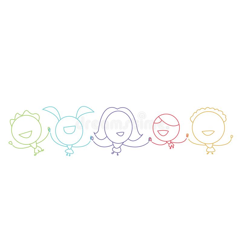 Stiliserade färgrika barn för kontur som rymmer händer lyckliga stock illustrationer