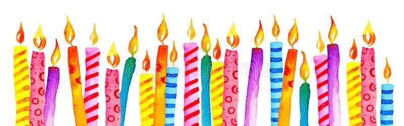 Stiliserade födelsedagstearinljus i rad Skissar den utdragna tecknad filmvattenfärgen för handen illustrationen vektor illustrationer