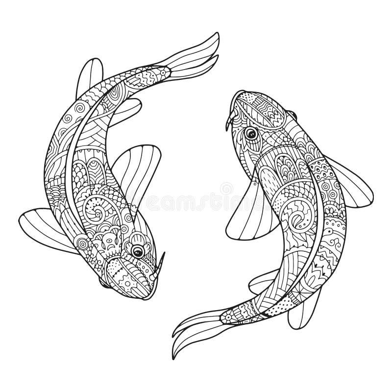 Stiliserade fiskpar för Zen konst i vektor Två koicarps vektor illustrationer