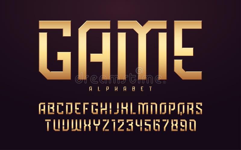 Stiliserade glansiga guld- stora bokstavsbokstäver, alfabet, stilsort, stilsort royaltyfri illustrationer