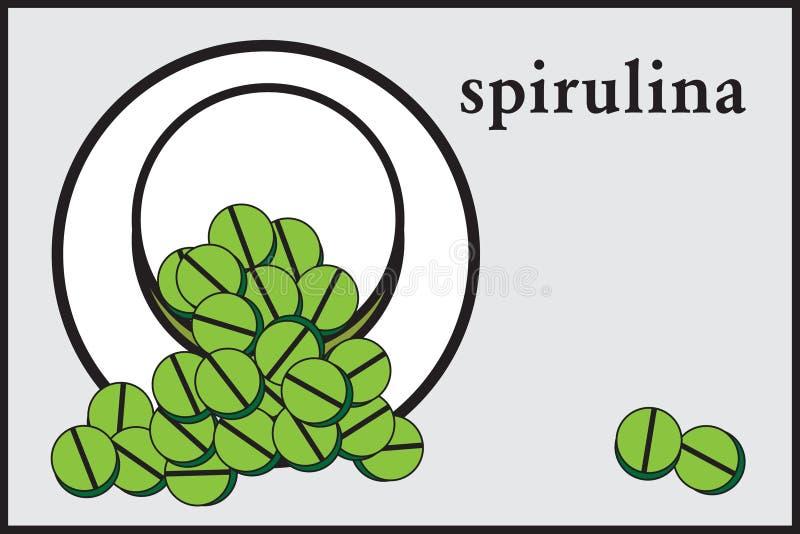 Stiliserade gröna spirulinapiller i en krus, minimalist stil, etikett, isolat, stock illustrationer