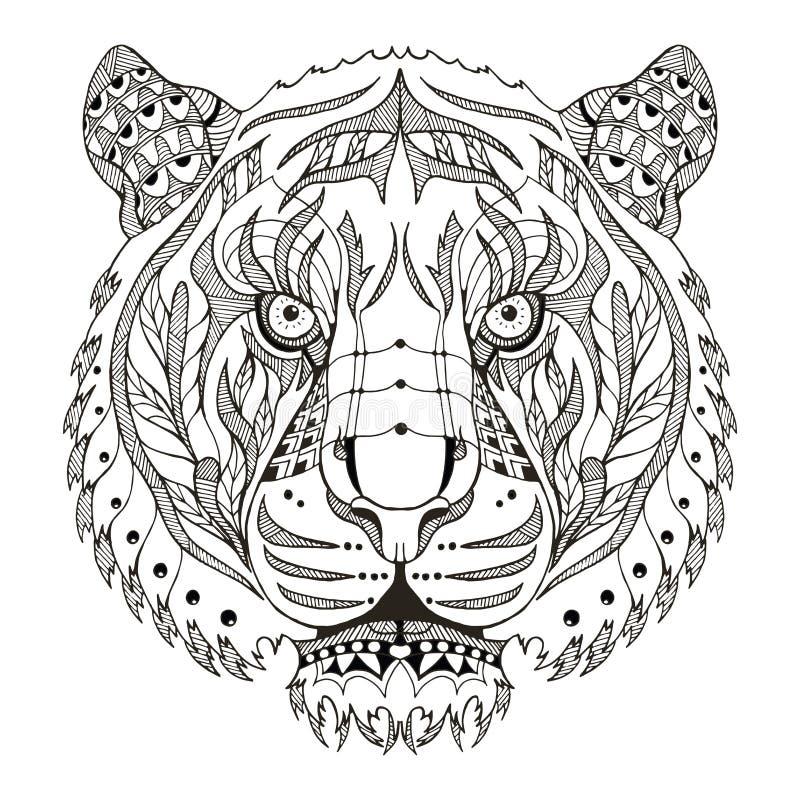 Stiliserade head zentangle för tigern, vektorn, illustrationen, modellen, fr royaltyfri illustrationer