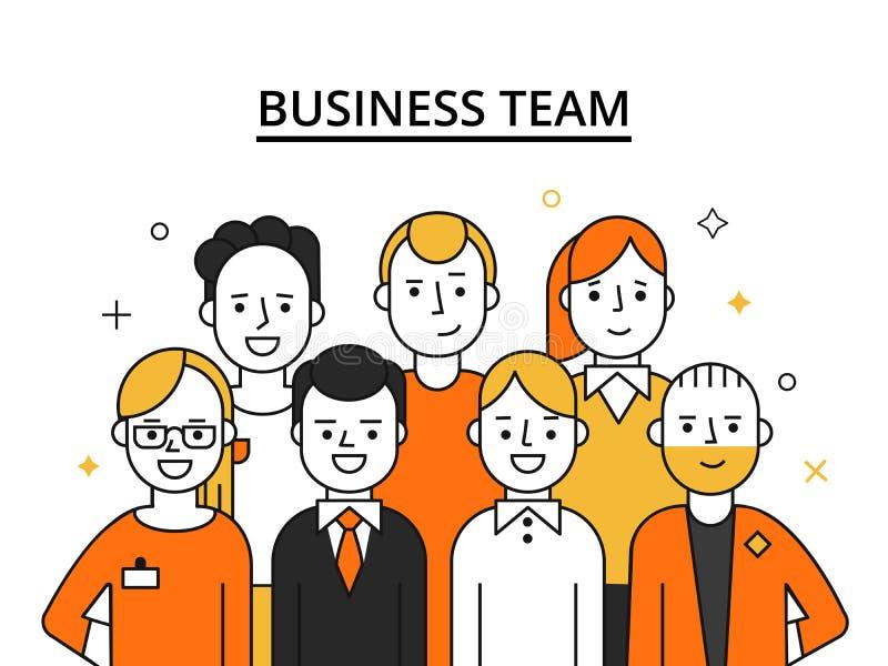 Stiliserade illustrationer av affärslaget Begreppsbild av lyckat folk royaltyfri illustrationer
