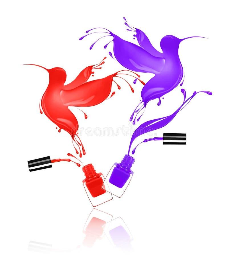 Stiliserade kolibrier som göras med färgstänk av, spikar polermedel royaltyfri illustrationer