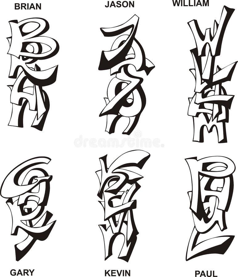 Stiliserade mannamn vektor illustrationer