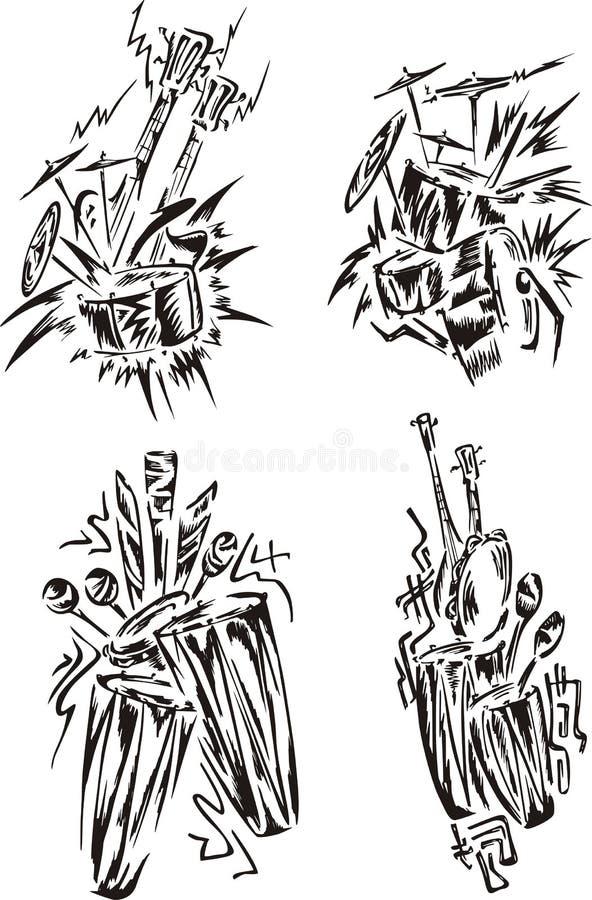 Stiliserade musikemblem - slagverk vektor illustrationer