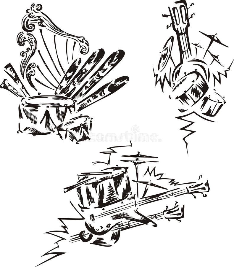 Stiliserade musikemblem - slagverk stock illustrationer