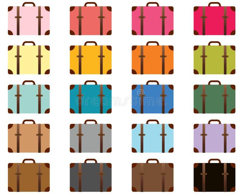 Stiliserade resväskor för lopp färg royaltyfri illustrationer
