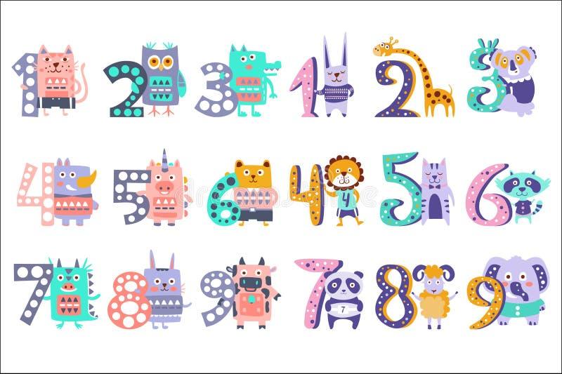 Stiliserade skraj djur som står bredvid siffraklistermärkeuppsättning stock illustrationer