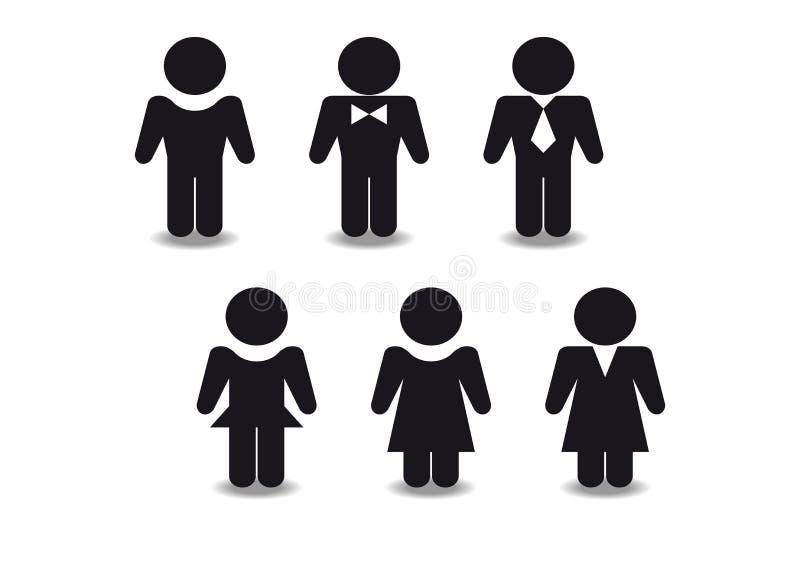 Stiliserade svarta diagram av män och kvinnor arkivbild