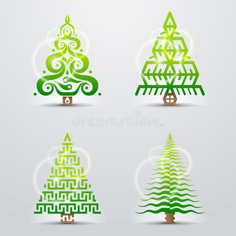Stiliserade Symboler Av Julträdet Royaltyfri Bild