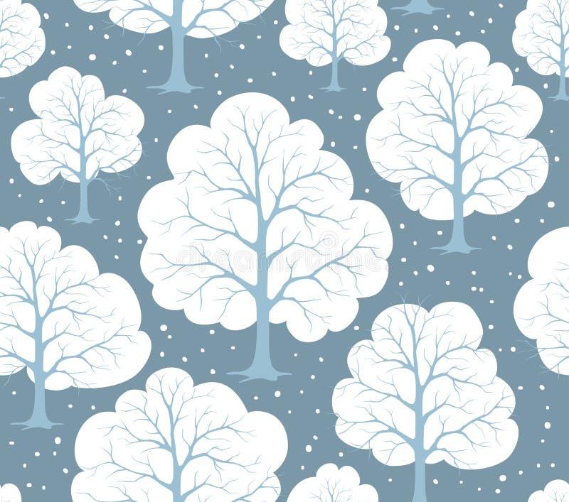 Stiliserade träd Forest Seamless Pattern Texture för tecknad filmvintersnö royaltyfri illustrationer
