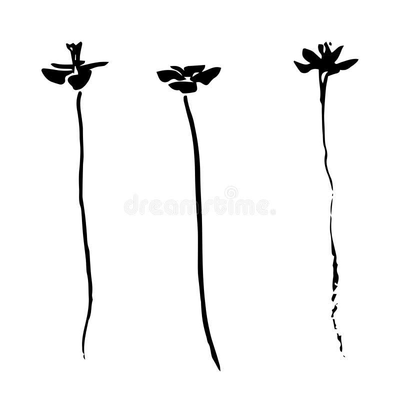 Stiliserade tre hand dragen svart blomman som målades av färgpulver Skissa vektorillustrationen stock illustrationer