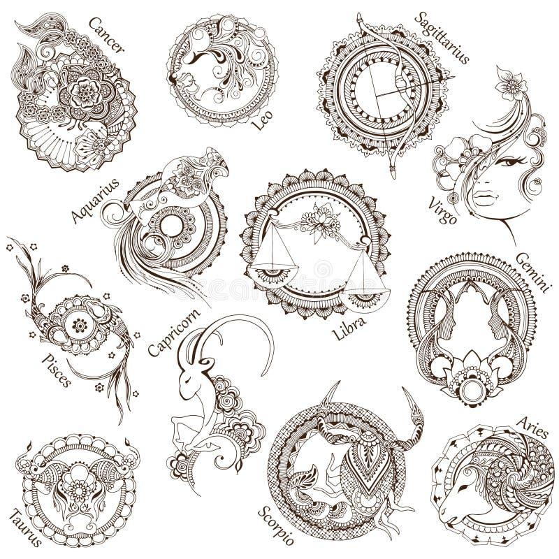 12 stiliserade zodiaktecken stock illustrationer