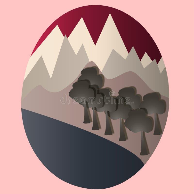Stiliserat berglandskap inom en oval form färgrikt stock illustrationer