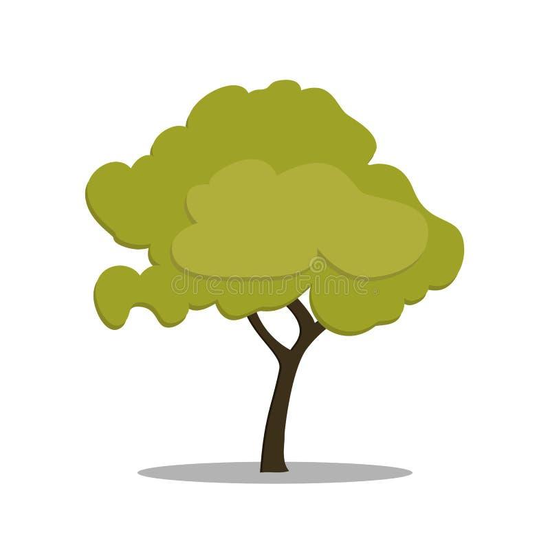 Stiliserat grönt träd i tecknad filmstil Vektor som isoleras på vitbakgrund stock illustrationer