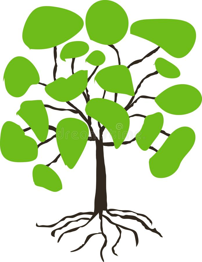 Stiliserat hand dragit träd med den gröna kronan på vit stock illustrationer