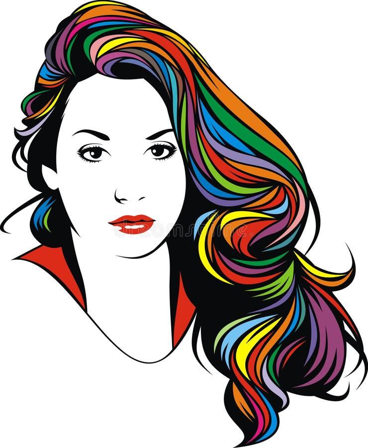 Stiliserat head av den trevliga flickan (kvinnor) från min dröm stock illustrationer