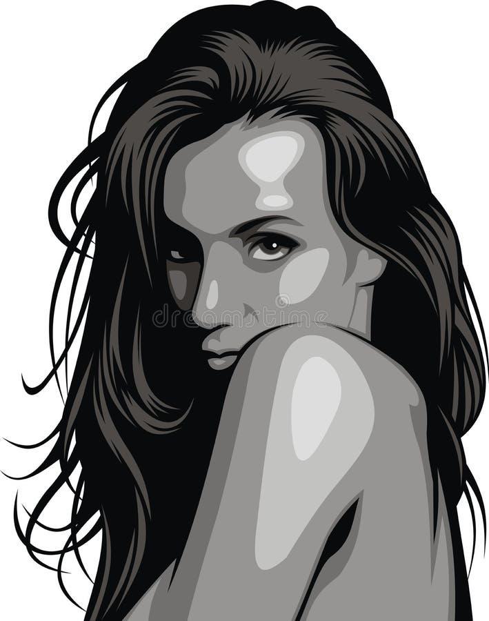 Stiliserat head av den trevliga flickan (kvinnor) från min dröm vektor illustrationer