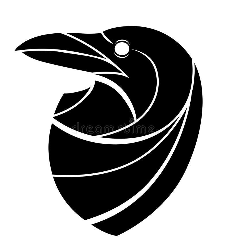 Stiliserat korpsvart huvud stock illustrationer
