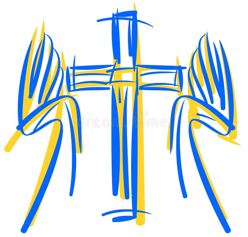 Stiliserat kors med händer stock illustrationer
