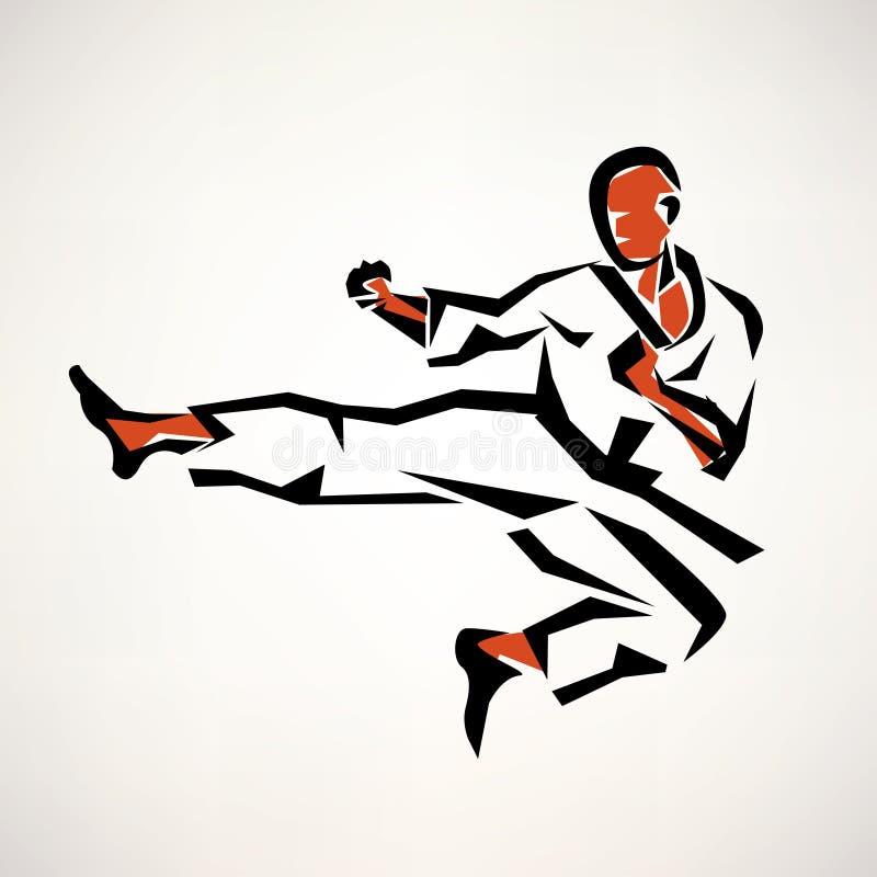 Stiliserat symbol för karate kämpe royaltyfri illustrationer