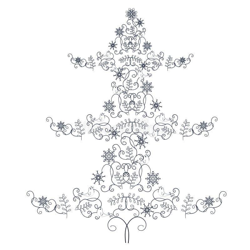 Stiliserat träd för jul för klotterstil hand dragit monokromt stock illustrationer