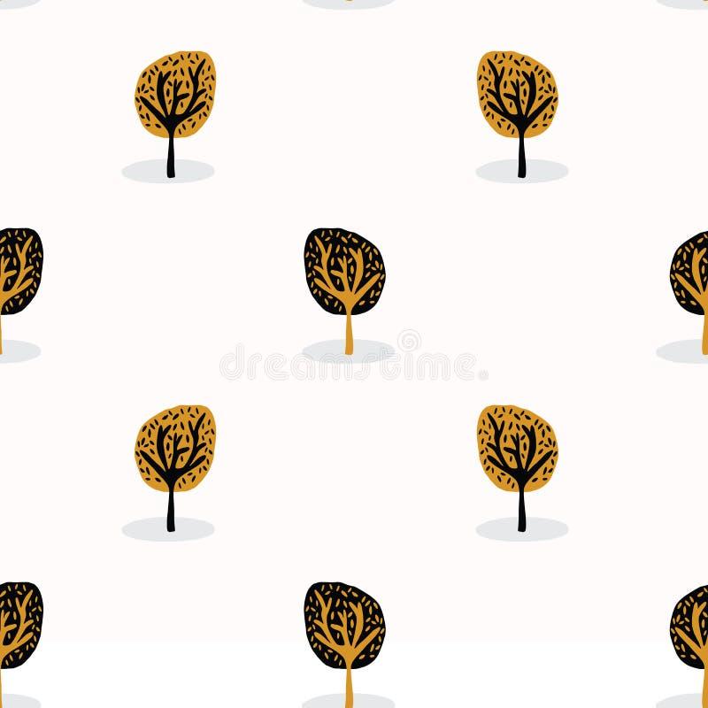 Stiliserat trädträ som upprepar den sömlösa modellen, hand dragen tappningstil vektor illustrationer