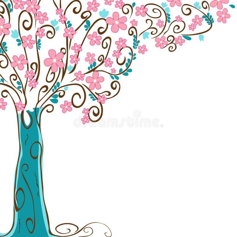 Stiliserat vårträd med att blomma blommor vektor illustrationer