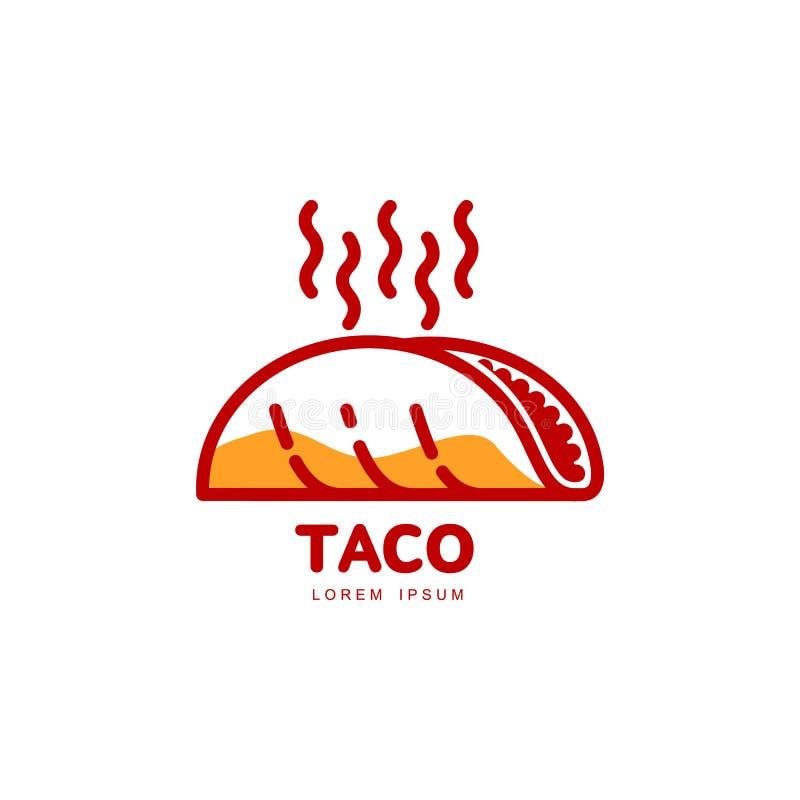 Stiliserat varmt, nytt gjort mexicansk tacologomall royaltyfri illustrationer