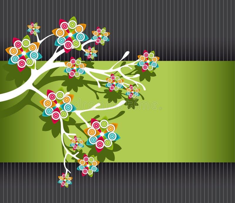 Stilisiert Baum mit bunten Blüten vektor abbildung
