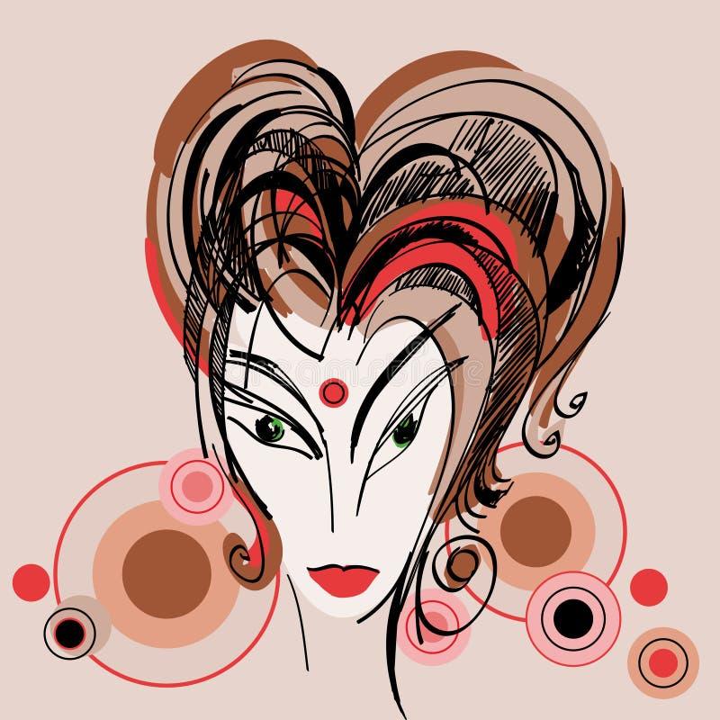 Stilisiert Skizze des Mädchens mit dem roten Haar stock abbildung