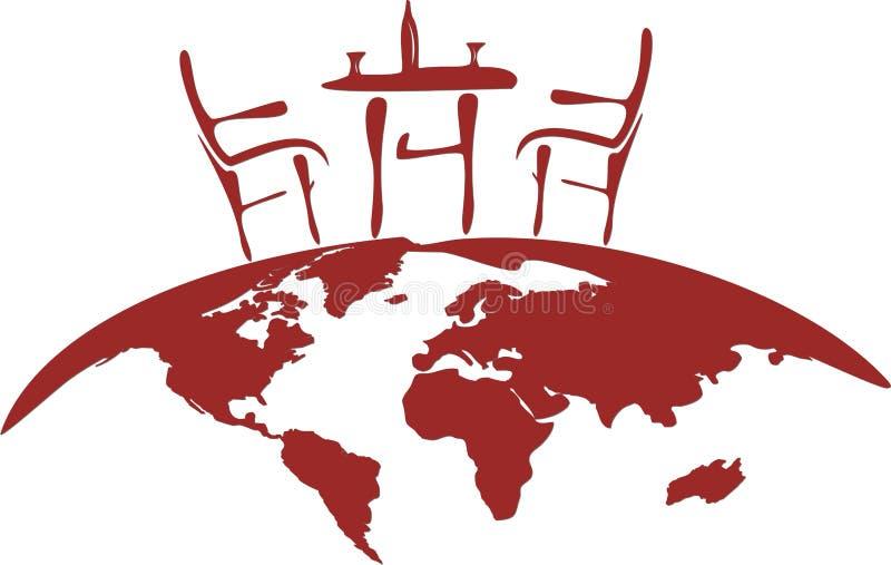 Stilisiert Stuhl und Tabelle auf The Globe lizenzfreie stockfotografie