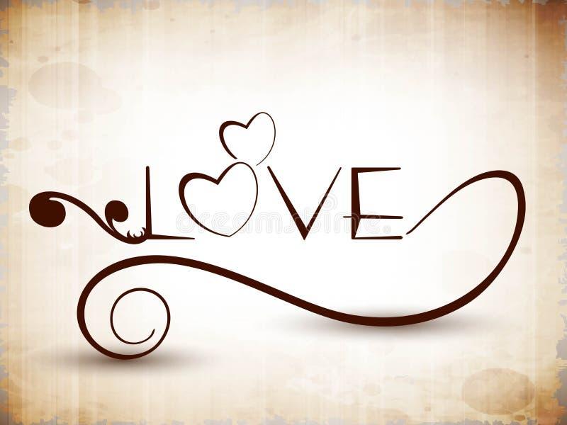 Stilisiert Text Liebe. vektor abbildung. Illustration von