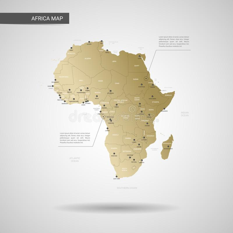 Stilisierte Afrika-Kartenvektorillustration stock abbildung
