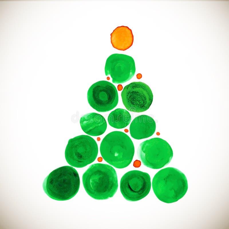 Stilisierte Aquarellillustration des Weihnachtsbaums lizenzfreie abbildung