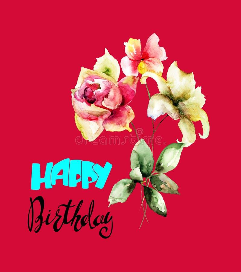 Stilisierte Blumenaquarellillustration, mit Titel glücklicher Geburt stockfoto