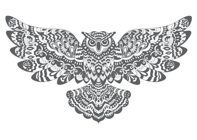 Stilisierte Dekorative Vektor-Eule Zeichnen Für Malbuch Vektor ...