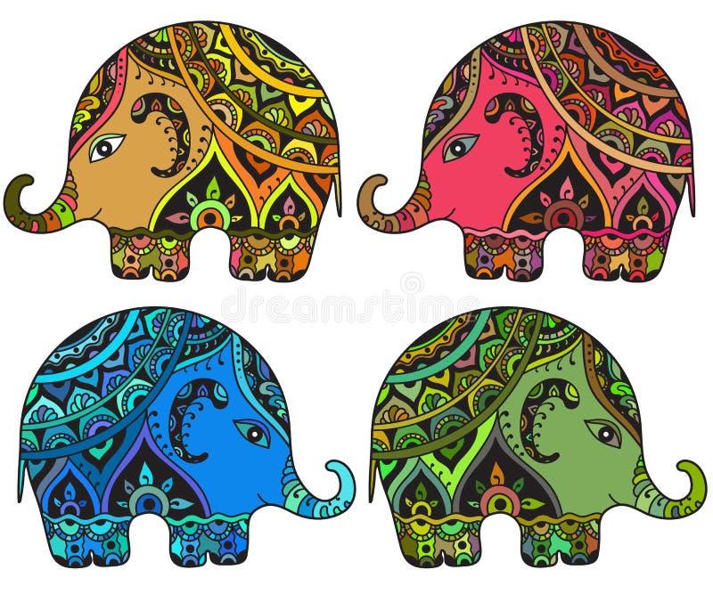 Stilisierte Fantasie kopierte Elefanten in der indischen Art stock abbildung