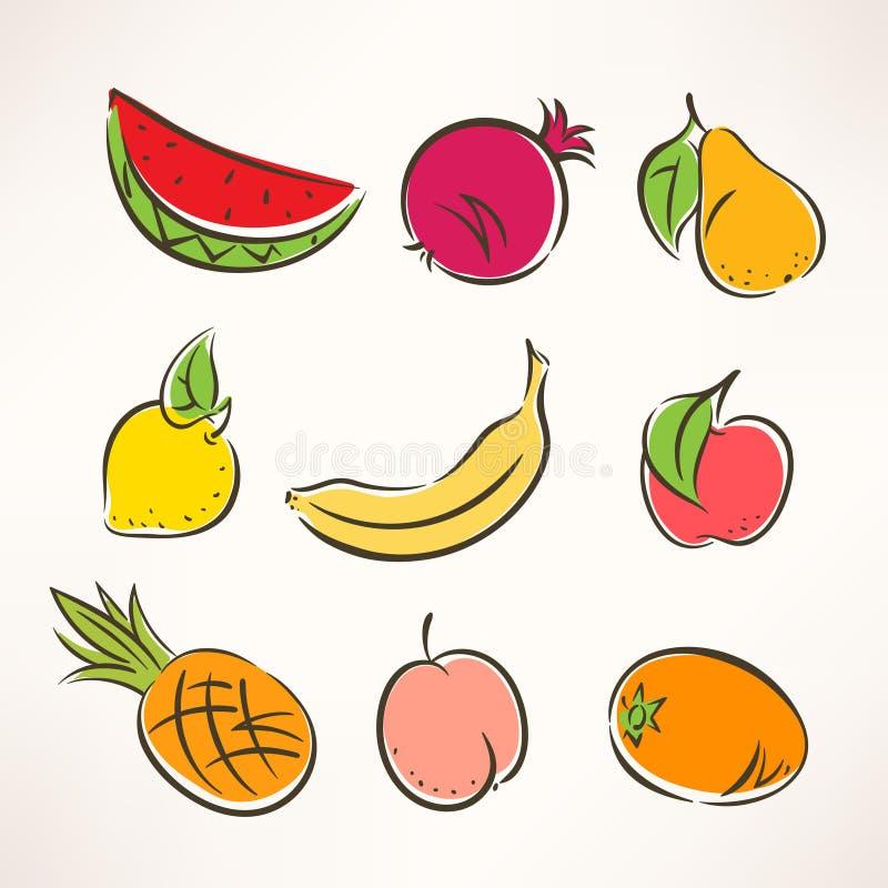 Stilisierte Früchte - 2 vektor abbildung. Illustration von nahrung ...