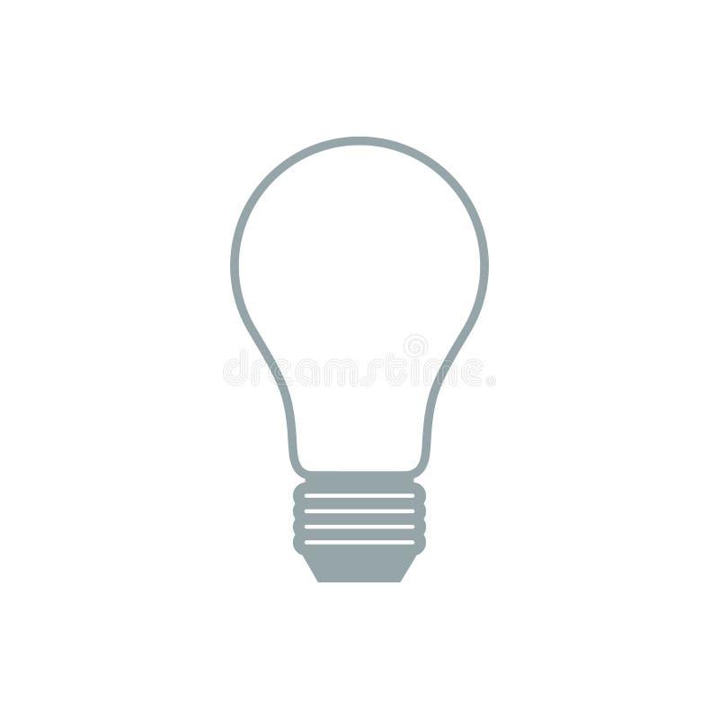 Stilisierte Ikone der Glühlampe auf weißem Hintergrund stock abbildung