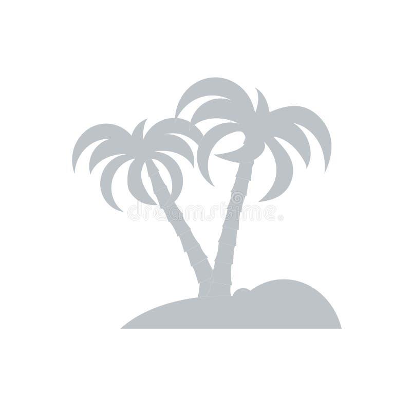 Stilisierte Ikone der Insel mit Palmen vektor abbildung