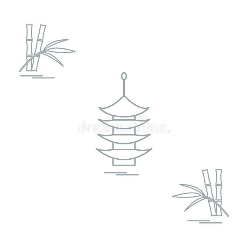 Stilisierte Ikone der Pagode und des Bambusses Reise und Freizeit vektor abbildung